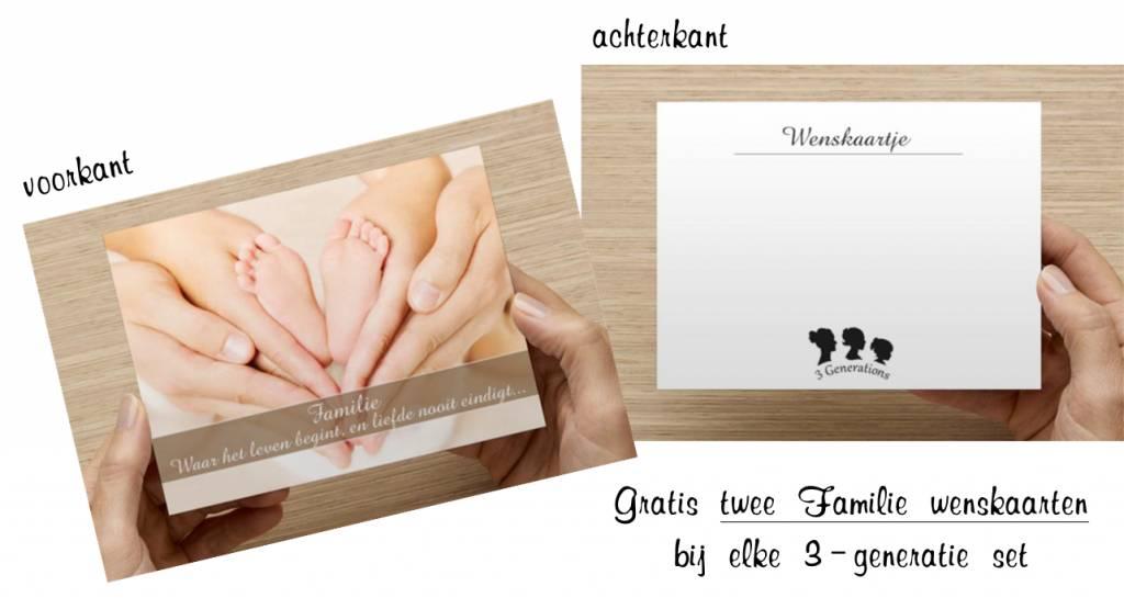 Zilveren 3 generatie kettingen 'Triple Love'