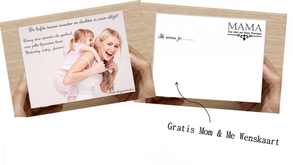 Zilveren Mom & Me set 'Little Diva' met hartjes bedeltjes