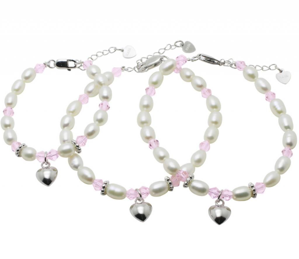KAYA sieraden Zilveren 3 generatie armbanden 'Little Diva' met hartje