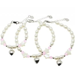 KAYA sieraden Silver 3-Generation bracelets 'Sparkling Star' with Swarovski and silver heart