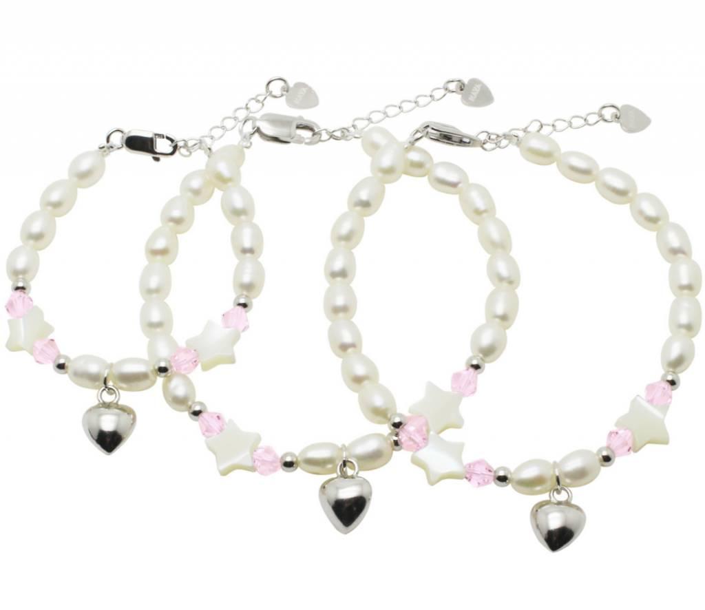 KAYA sieraden Silver 3-Generation bracelets 'Sparkling Star' with Swarovski and silver heart