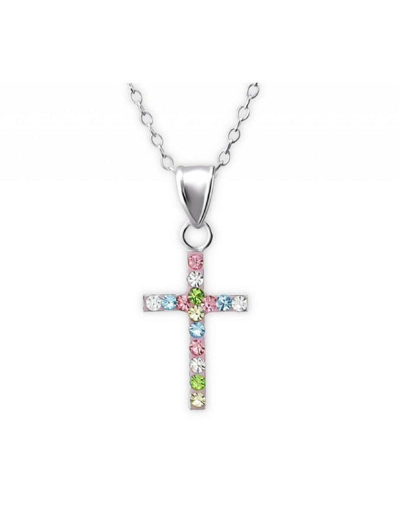 Communion silver necklace '' Sparkling Crystal Cros'