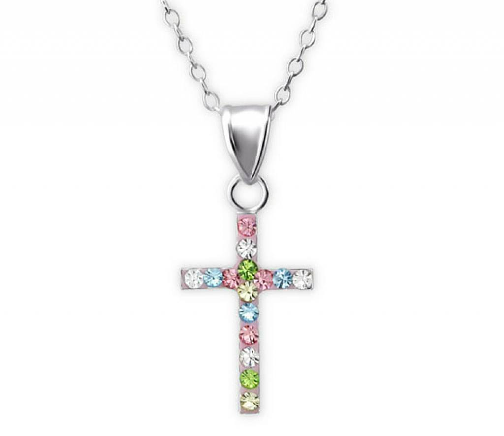 KAYA sieraden ★ SALE ★ Zilveren Communie ketting ''Sparkling Crystal Cros'