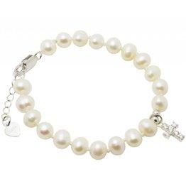 KAYA sieraden Zilveren doop armbandje 'Pure' met crystal kruisje
