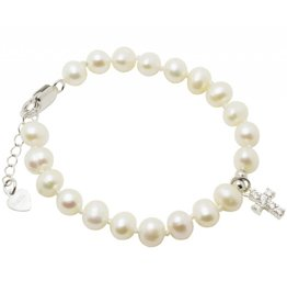 Silver christening bracelet 'Potato Pearls with crystal cross