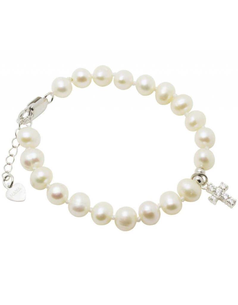 KAYA sieraden Silver christening bracelet 'Potato Pearls with crystal cross