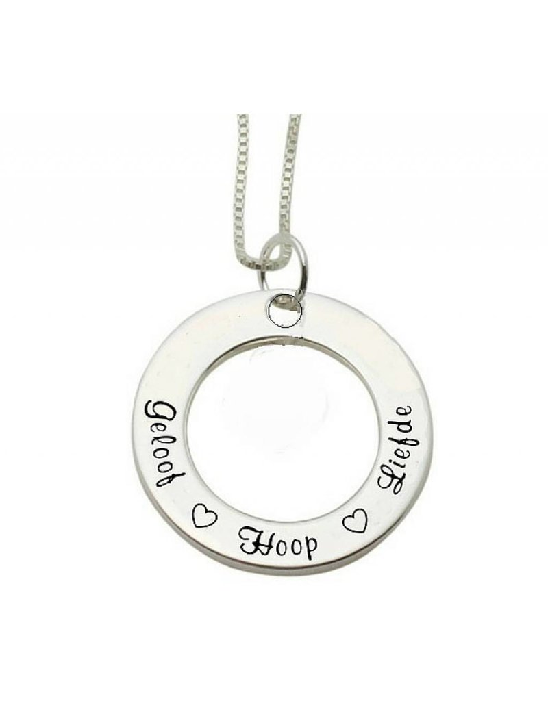 KAYA sieraden Communion silver necklace Faith ♡ Hope ♡ Love