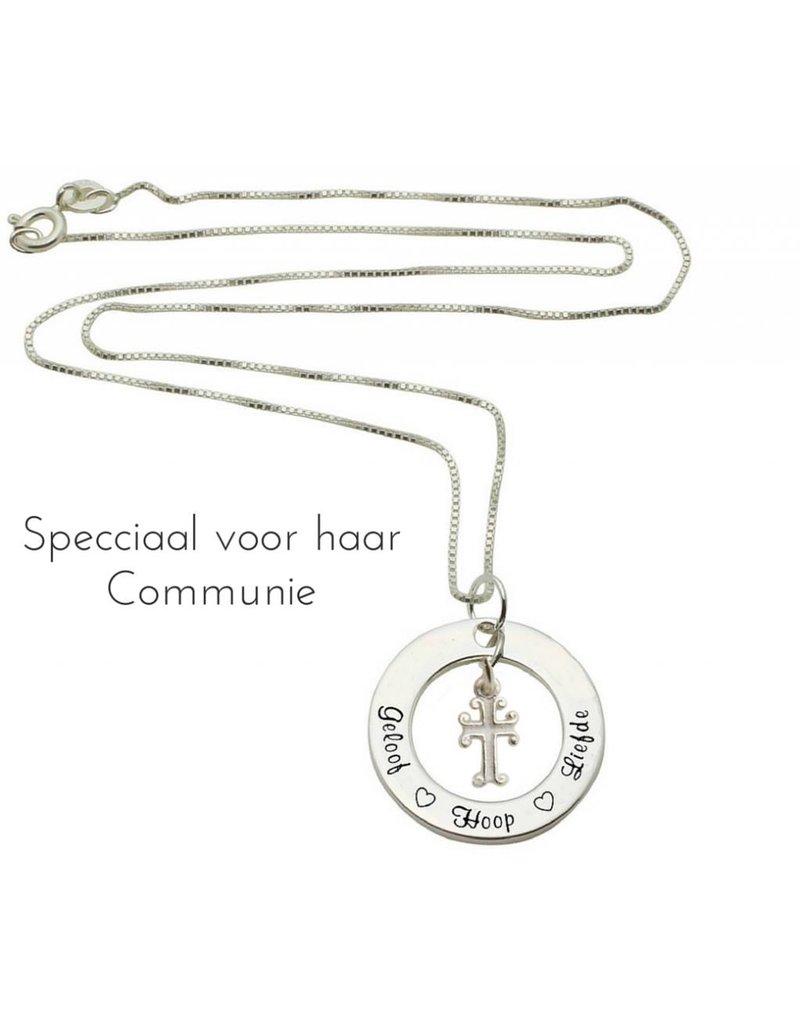 KAYA sieraden Communion silver necklace 'Faith Hope ♡ ♡ love' with heart