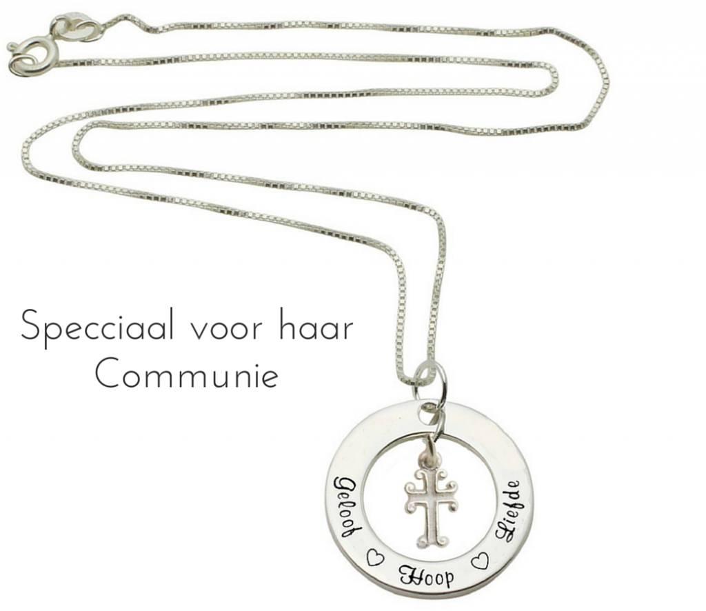 Zilveren communie ketting *Kies je tekst*