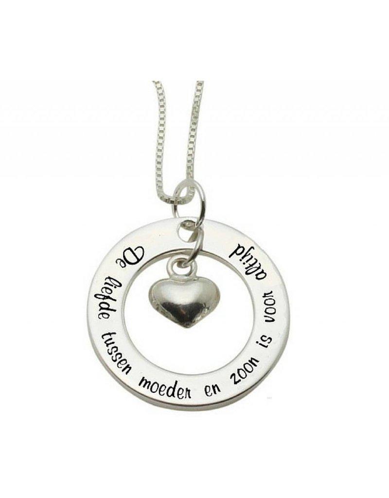 KAYA sieraden Zilveren ketting 'De liefde tussen moeder en zoon...'