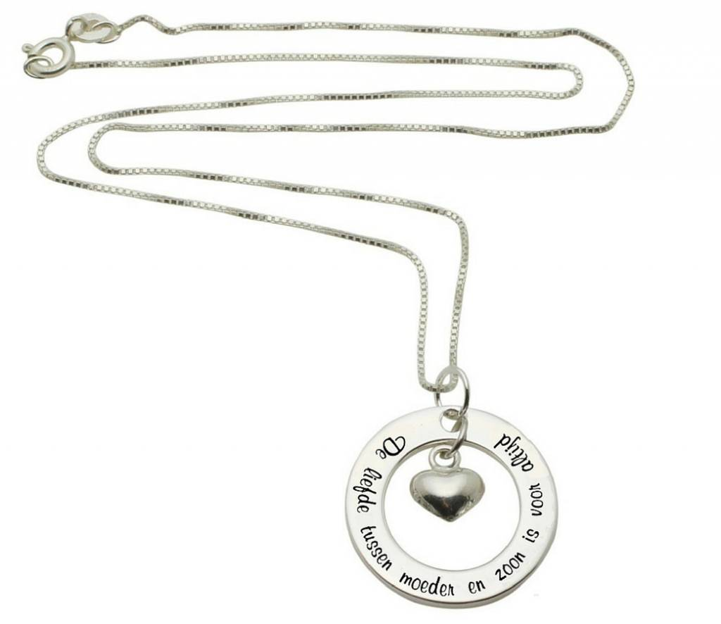 """KAYA sieraden Silver necklace """"The love between mother and son ... '"""