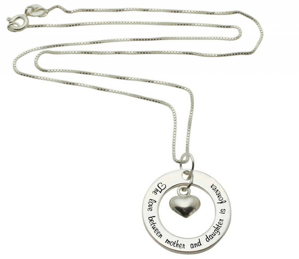 KAYA sieraden Zilveren ketting 'The love between Mother and Daughter...'