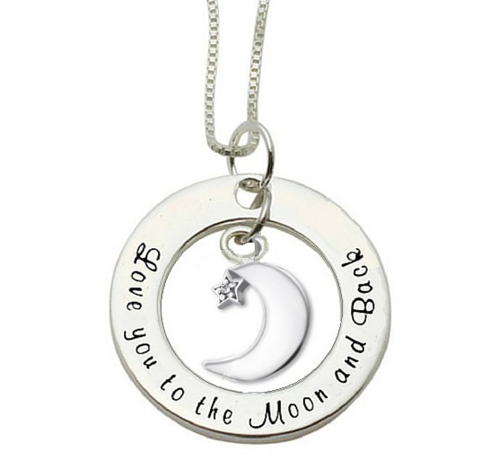 Silver necklace 'Love you to the Moon & Back'