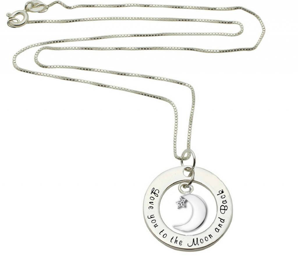 Zilveren ketting 'Love you to the Moon & Back'
