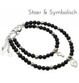KAYA sieraden Silver bracelets mom & me 'onyx' key to my heart '