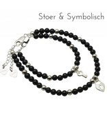 Silver bracelets mom & me 'onyx' key to my heart '