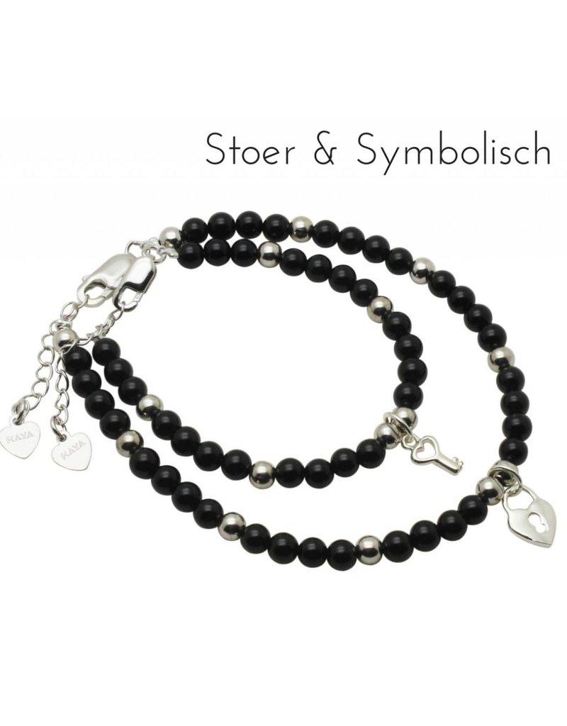 KAYA sieraden Zilveren mom & me armbanden 'black night' key to my heart'