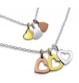 Zilveren Mom & Me kettingen '3 hearts'