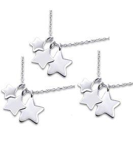 Zilveren generatie kettingen 'Three generations of Stars'