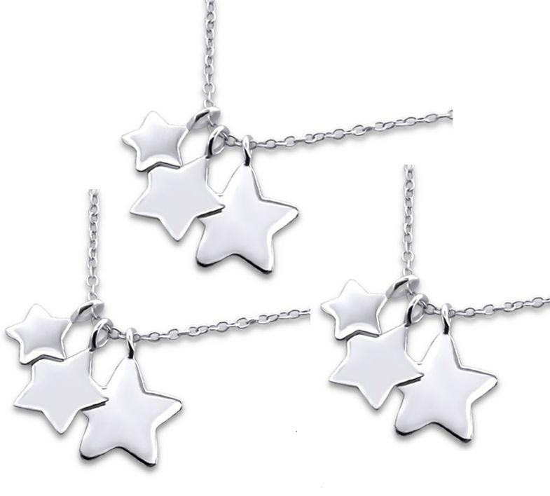 KAYA sieraden Zilveren generatie kettingen 'Three generations of Stars'
