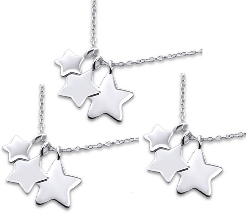 Zilveren drie generatie kettingen 'Shining Star'