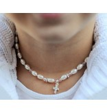 "Communion silver necklace ""Little Diva"" with crystal cross"