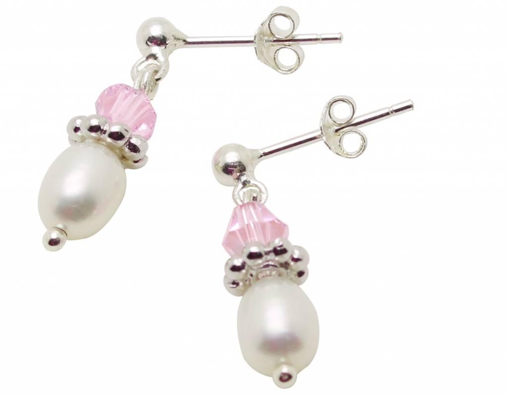 Zilveren pareloorbellen 'Infinity Pink'