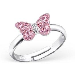 Zilveren kinderring 'roze vlindertje'