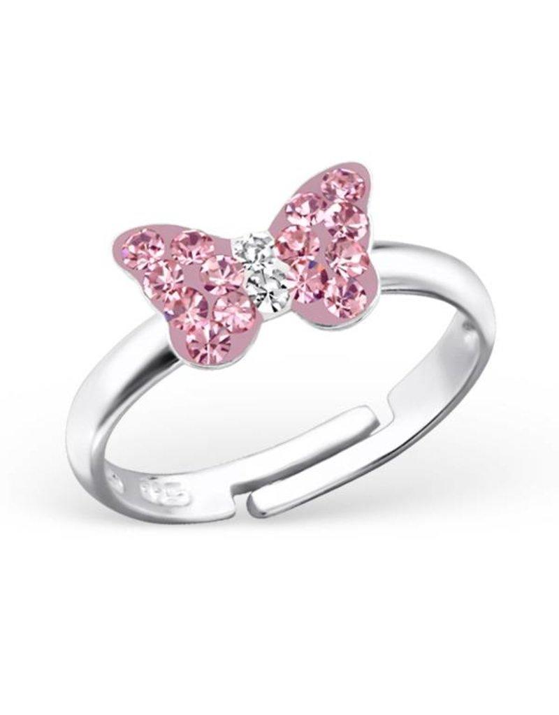 KAYA sieraden Zilveren kinderring 'roze vlindertje'