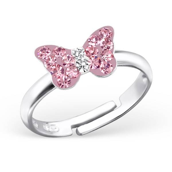 KAYA sieraden RING OP > Zilveren kinderring 'roze vlindertje'