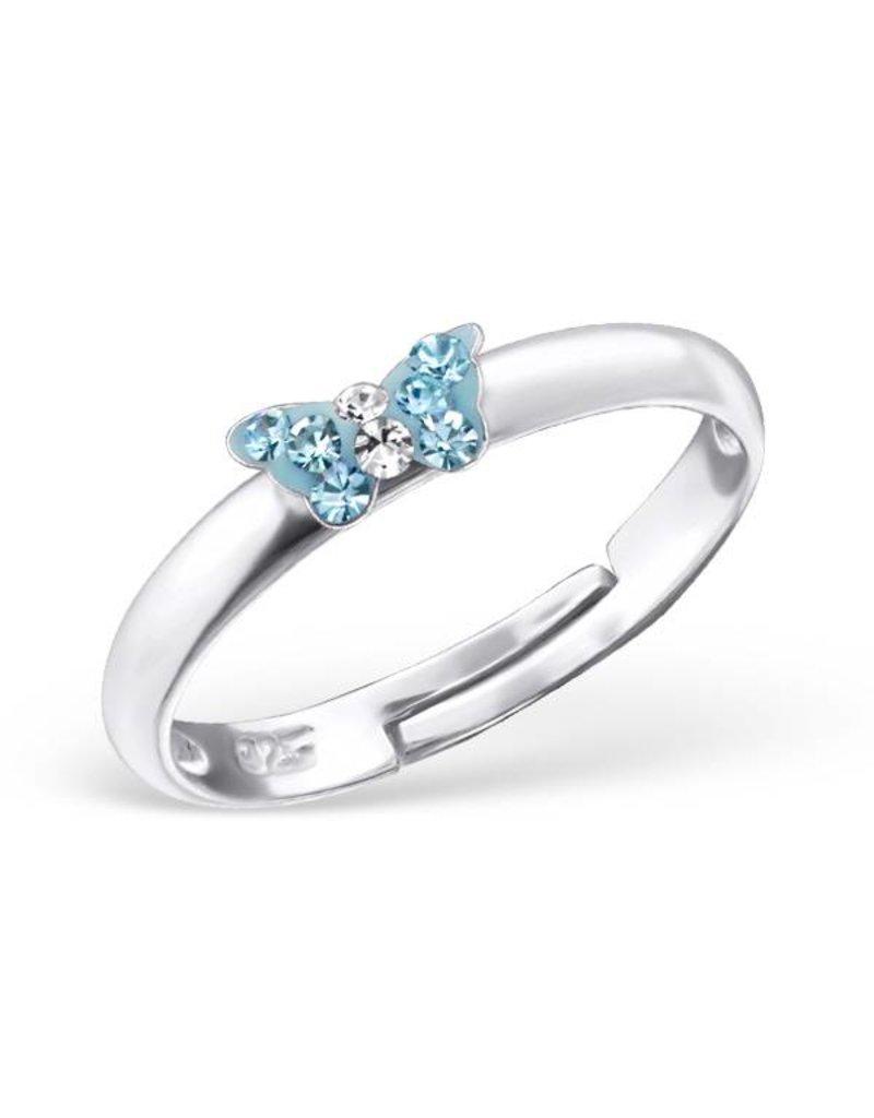 KAYA sieraden Zilveren kinderring 'blauw vlindertje'