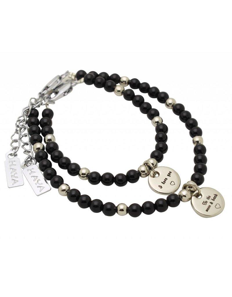 KAYA sieraden Kinder armband onyx black 'kies je bedeltje'
