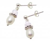 Silver Pearl Earrings 'Sparkles White'