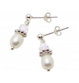KAYA sieraden Zilveren Pareloorbellen 'Sparkles White'