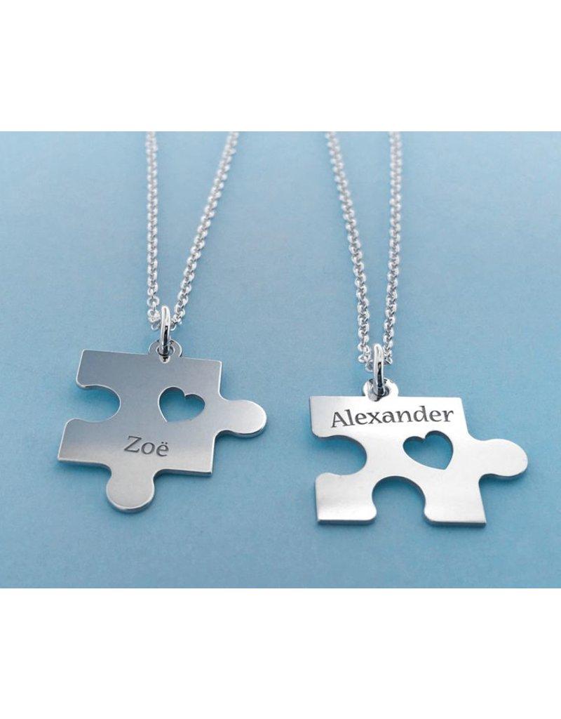 KAYA sieraden 2 Silver friendship necklaces 'puzzle pieces'