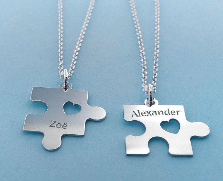 KAYA sieraden Set van 2 Zilveren kettingen 'Puzzelstukjes'