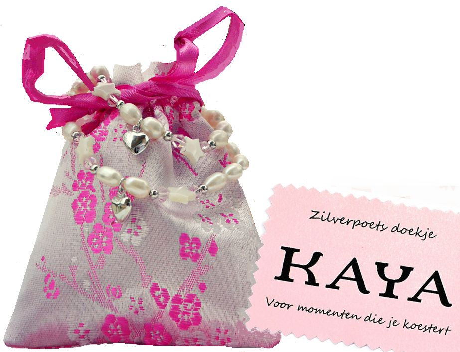 KAYA sieraden christening bracelet 'Love & Faith' Infinity Pink