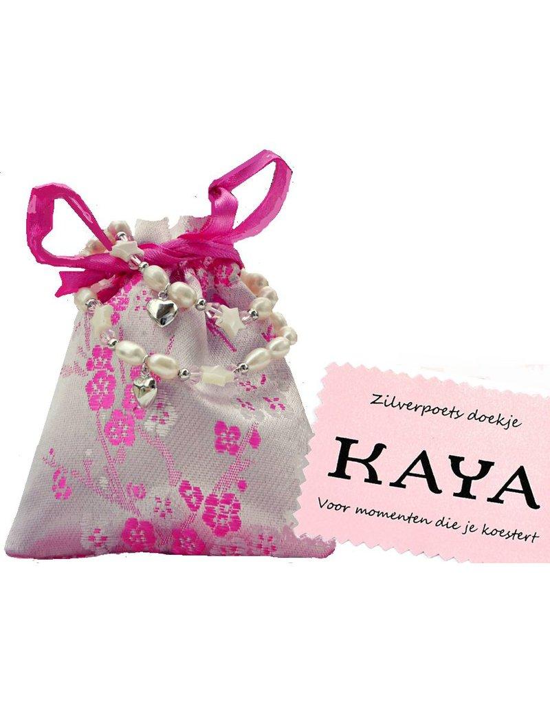 KAYA sieraden Kinderarmbandje 'Infinity White de luxe' met kruisje