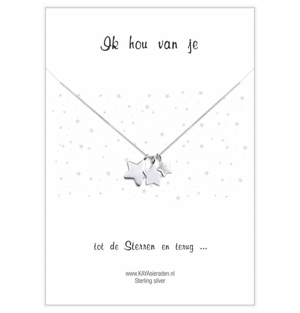 KAYA sieraden Wenskaart 'Ik hou van je tot de sterren en terug'