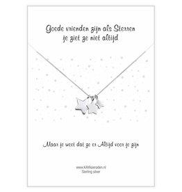 KAYA sieraden Wenskaart 'Goede vrienden zijn als sterren'