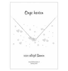 "KAYA sieraden Postcard ""Our hearts together 'double heart"
