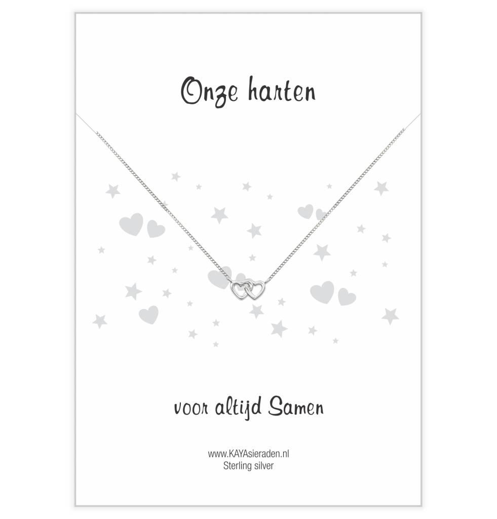 KAYA sieraden Wenskaart 'Onze harten samen' dubbel hartje