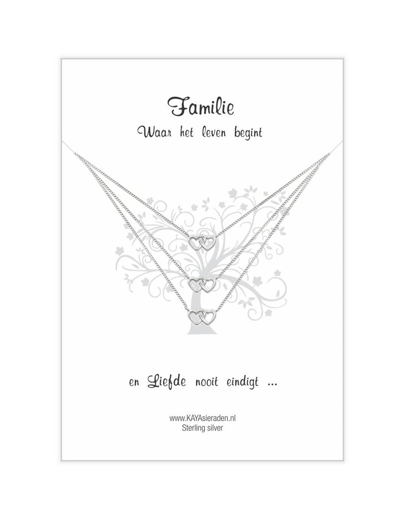 KAYA sieraden Cards 'Family' intertwined hearts