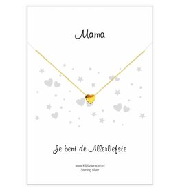 "Gold necklace with heart ""Mom, you're the sweetest '"