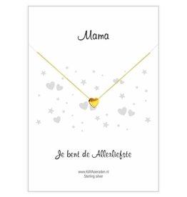 KAYA sieraden Gouden hartje ketting 'Mama, je bent de allerliefste'