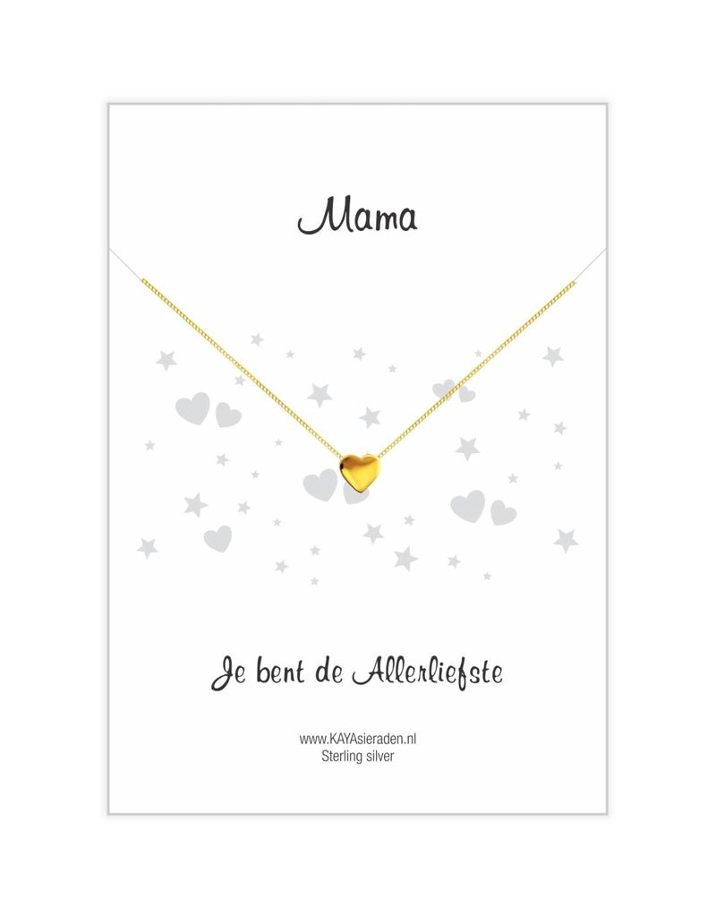 """KAYA sieraden Gold necklace with heart """"Mom, you're the sweetest '"""