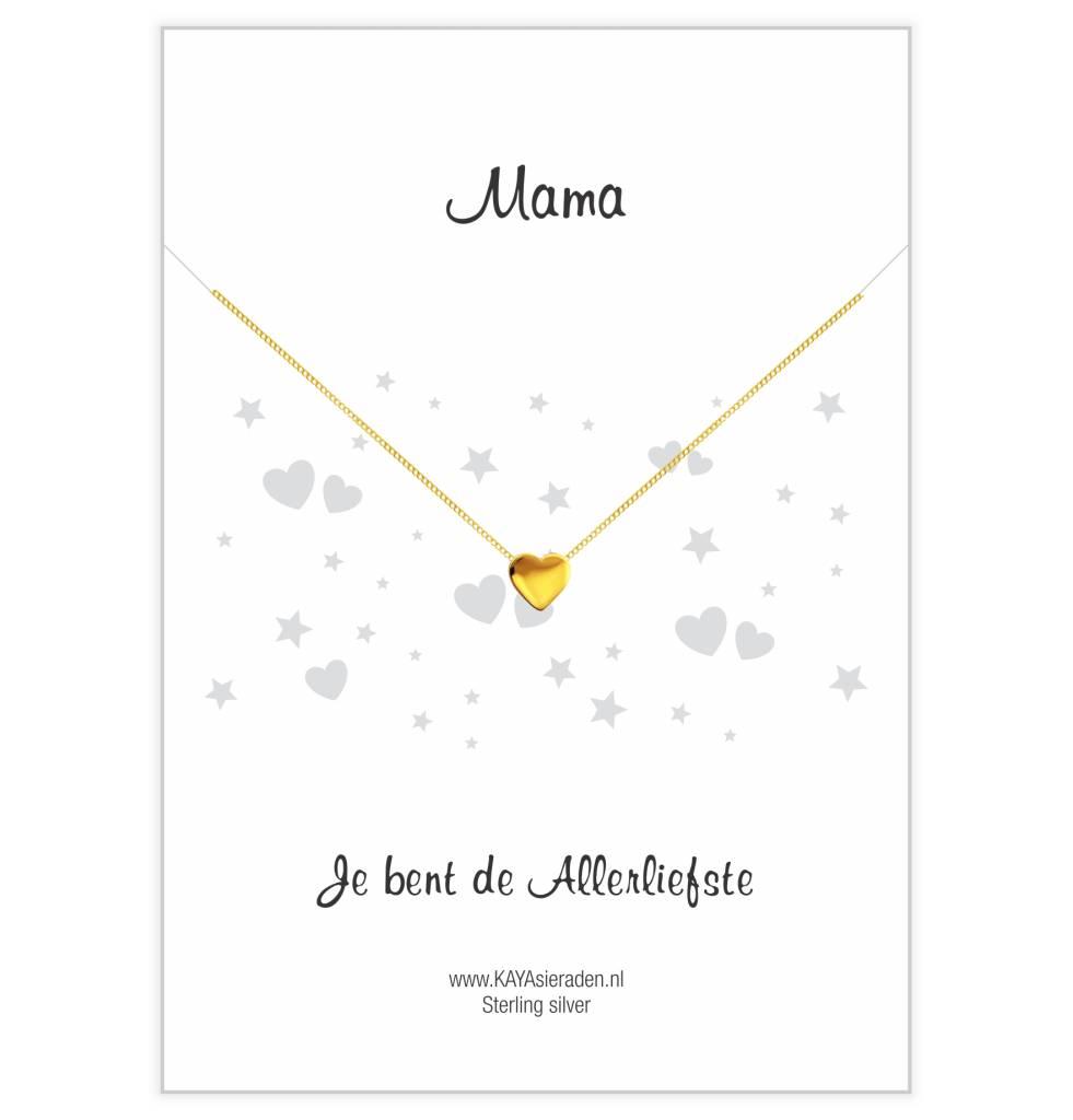 Gouden ketting met hartje 'Mama, je bent de allerliefste'