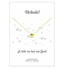 Gouden hartje ketting 'Bedankt, je hebt een hart van Goud'