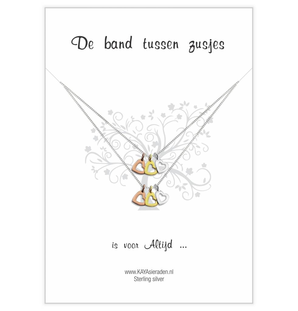 "KAYA sieraden Greeting Card ""Sisters love"" with open hearts"