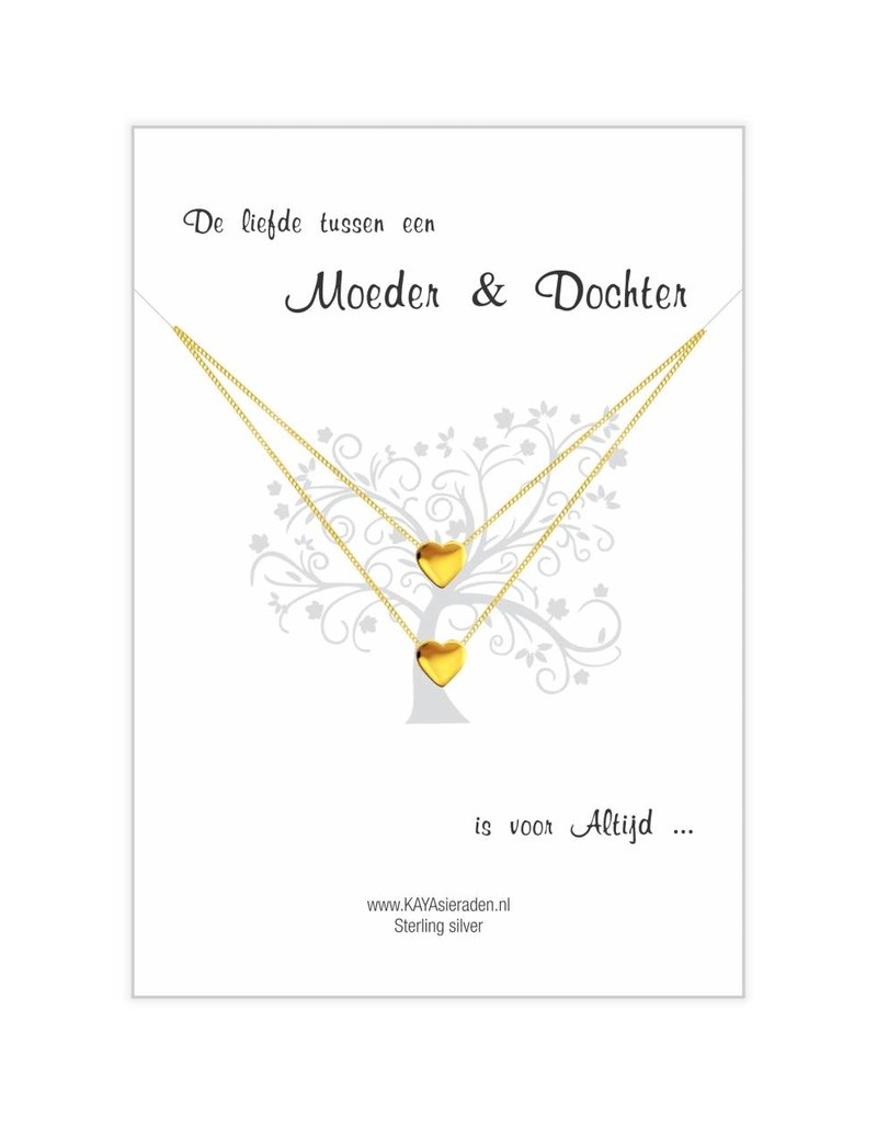 Card Mother & Daughter 'golden hearts'